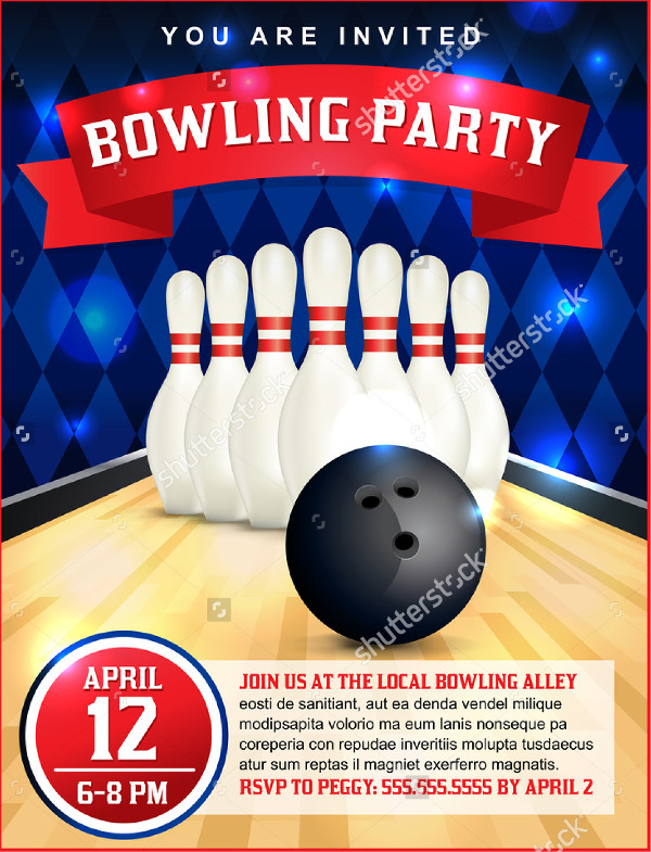 Bowling Birthday Party Flyer Design