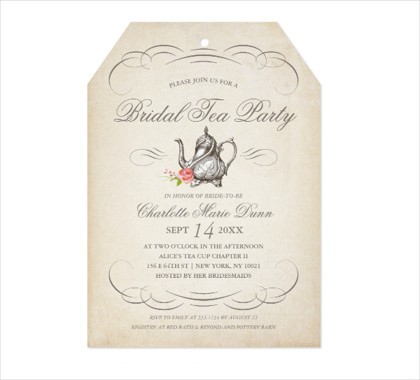 Classy Vintage Invitation for Tea Party