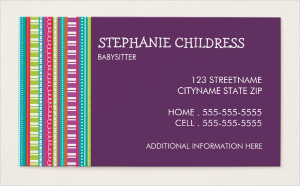 Colorful Stripes Babysitting Business Card