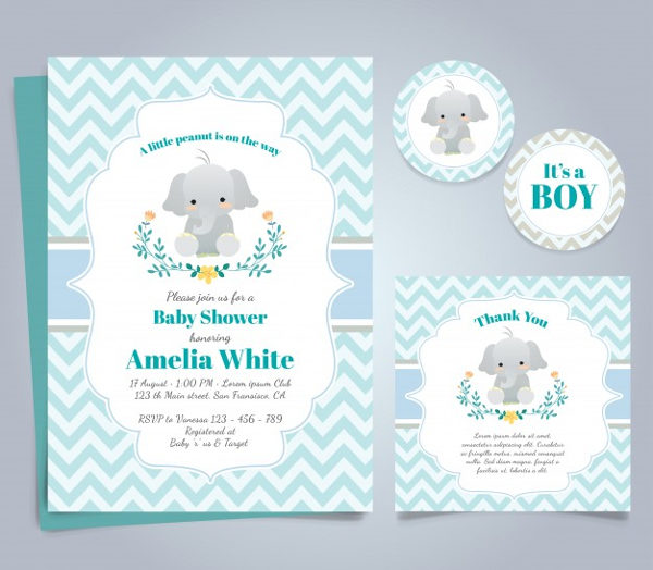 Free Invitation for Baby Shower with Elephant