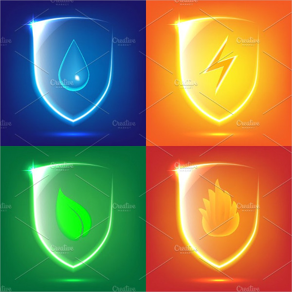 Glass Shield Nature Icons