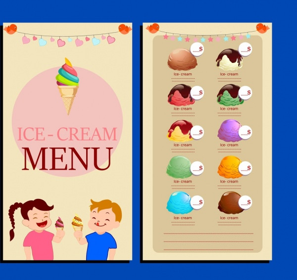 Ice Cream Menu with Cute Childrens Free Download