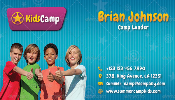 Kids Summer Camp Business Card