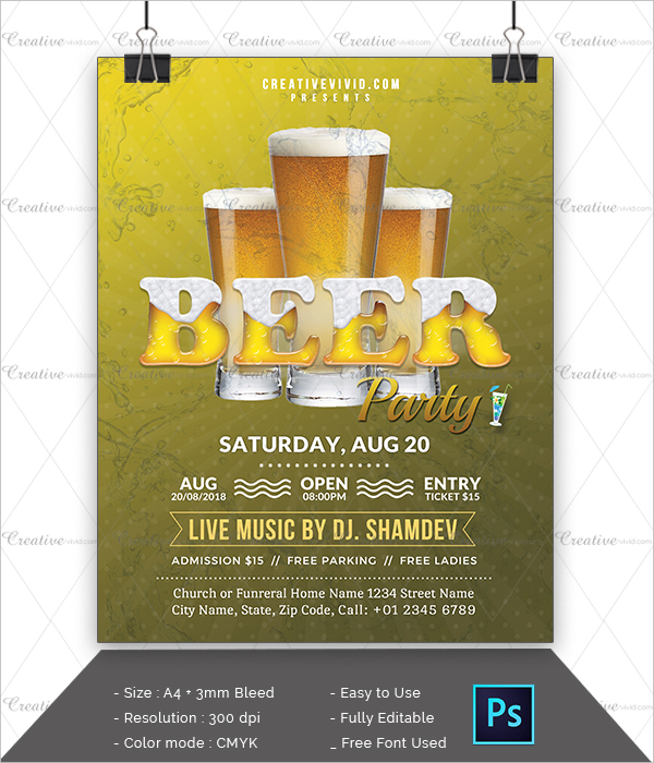 Latest Design Beer Party Flyer PSD
