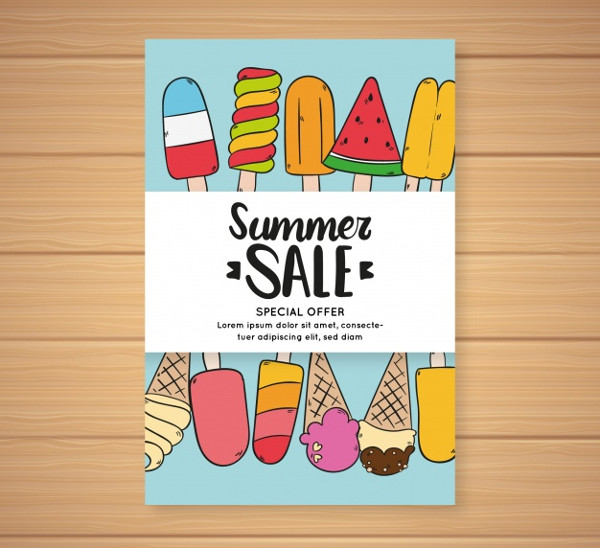 Summer Sale Flyer with Different Flavors of Ice Creams Free