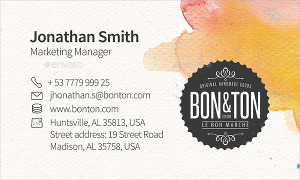 Marketing Manager Watercolor Creative Business Card