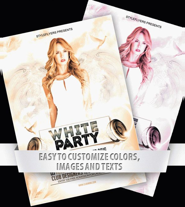 All White Party Flyer PSD Free