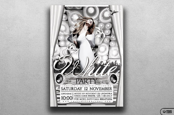 White Party Event Flyer Template