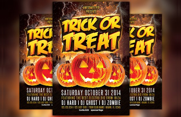 Halloween Party Treat Flyer Template