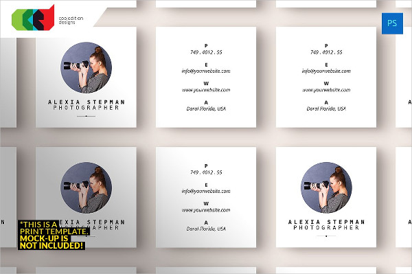 Square Photography Business Cards Template