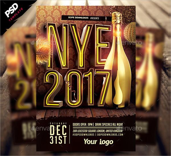 NYE 2017 3D Flyer Template