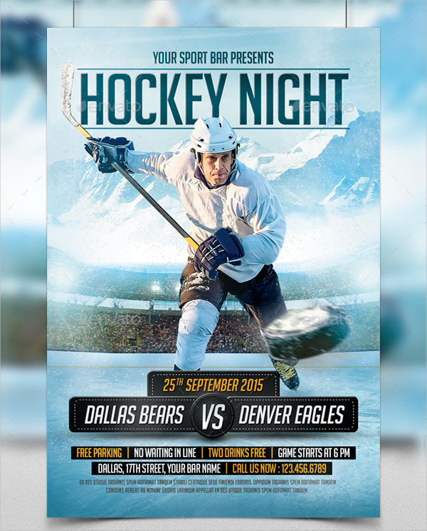 Fully Customizable Hockey Night Flyer