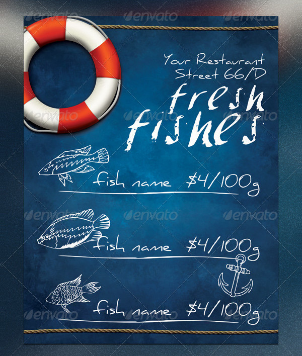 Print Ready Fresh Fishes Flyer Template