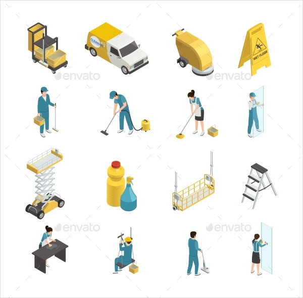 Professional Cleaning Isometric Icon Set
