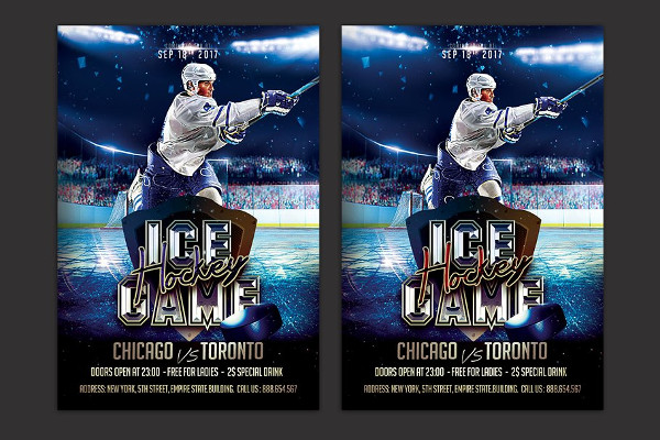 Professional Ice Hockey Flyer Template