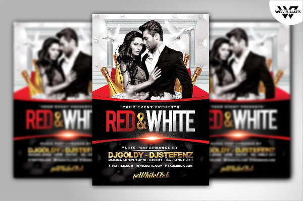 Red & White Party Flyers