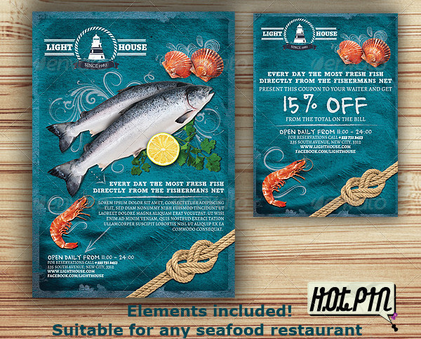 Seafood Restaurant Magazine Template