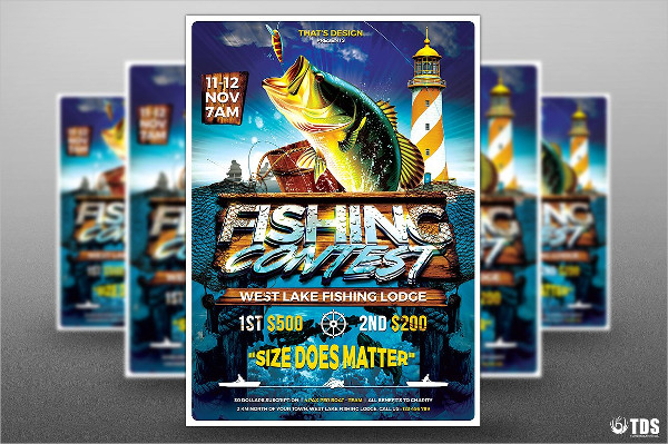 Designed Fish Catching Flyer Templates
