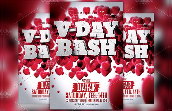 Valentine's Day Party 3D Flyer Template
