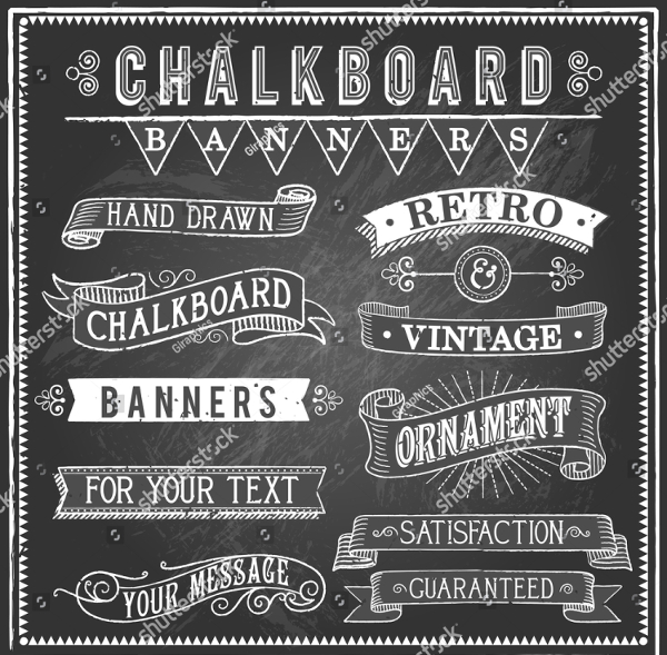 Vintage Style Banner Templates of Chalkboard