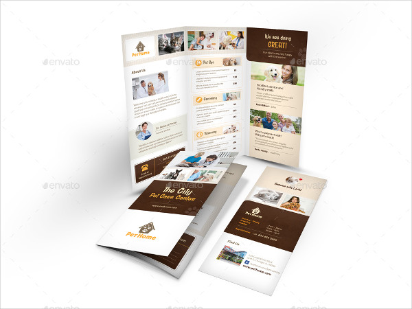 Professional Dog Care Trifold Brochure Template