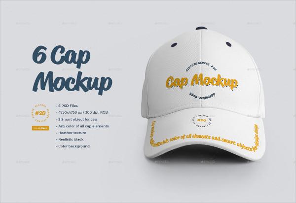 6 Cap Mock-Ups Design