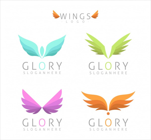 Assortment of Logos with Colored Wings Free