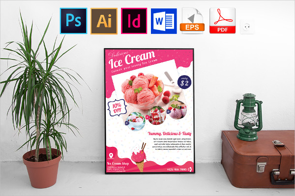 Best Ice Cream Shop Poster Template