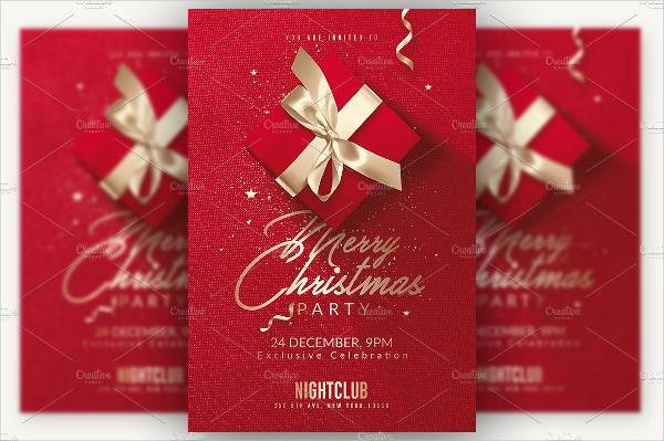 Red Christmas Invitation Flyer Template