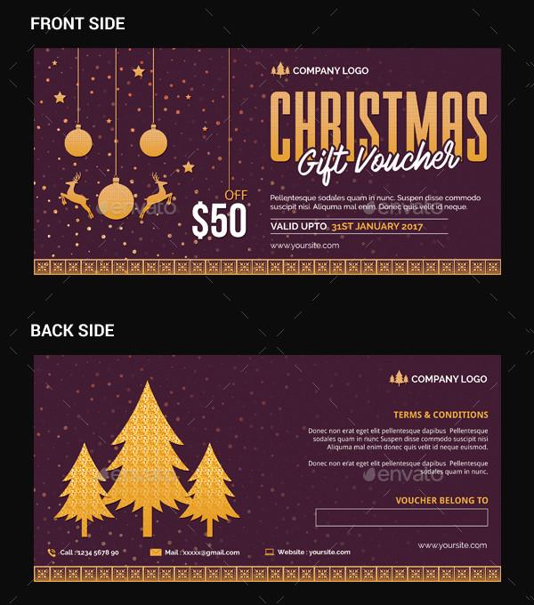 Editable Christmas gift voucher Template
