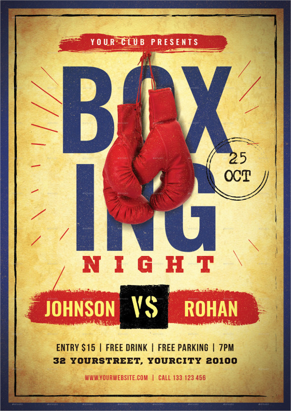 Fully Editable Boxing Flyer Template