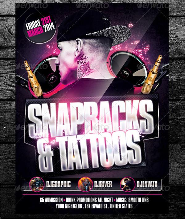 Snapbacks & Tattoos Club Flyer Template