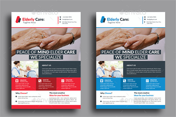 Clean Elderly Care Business Flyer Template