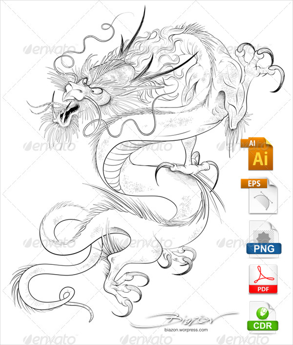 Chinese Dragon Tattoo Design Vector