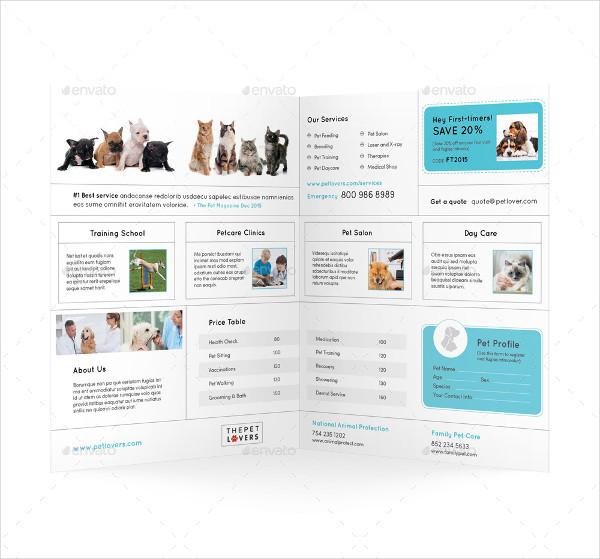 Pet Care Bi-Fold or Half-Fold Brochure