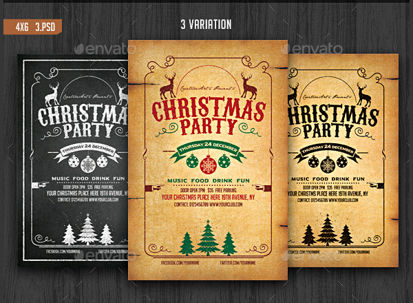 Vintage Christmas Party Flyer Template