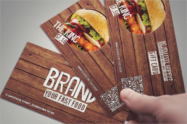 Stylish Fast Food Restaurant Gift Card Template