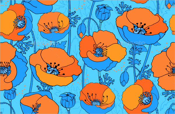 Art Floral Vector Seamless Pattern with Papaver