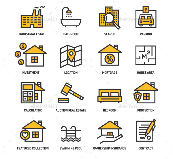 Real Estate Linear Icons and Backgrounds Set