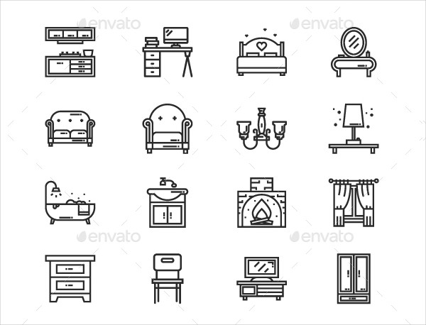 16 Fully Editable Furniture Icons
