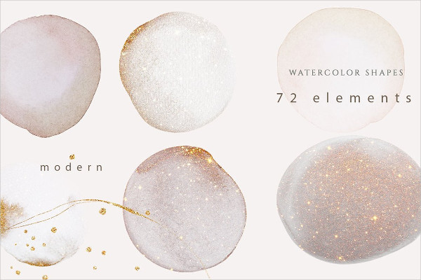 Rose Gold Watercolor Shapes