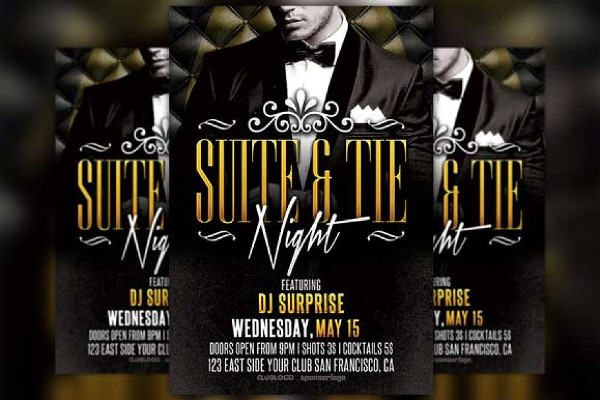 Suite and Tie Party Flyer Design