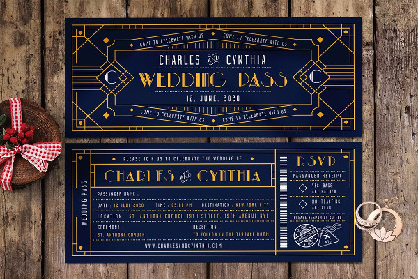 Ticket Invitation Template for Wedding
