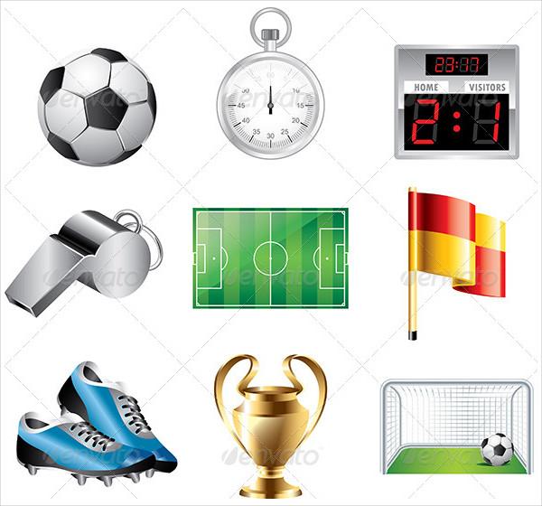 Basic Soccer Game Icon Set