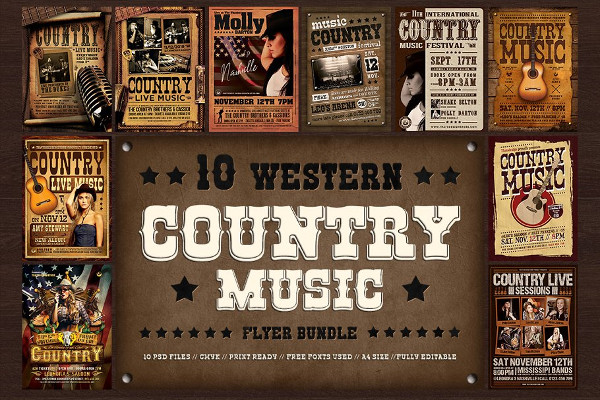 Country Music Flyers Bundle