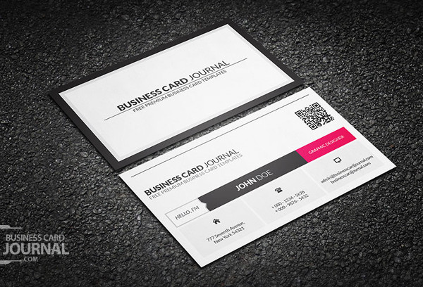 Metro Style Business Card Template With QR Code Free