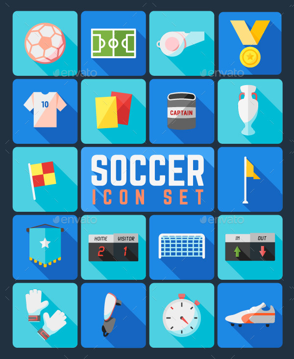 Set of Flat Icons Related to Soccer