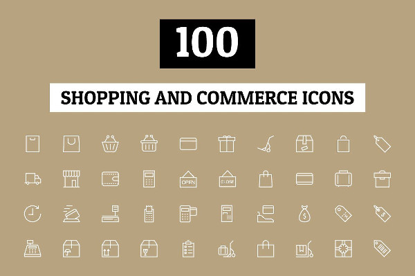 100 Shopping & Commerce Icon Pack