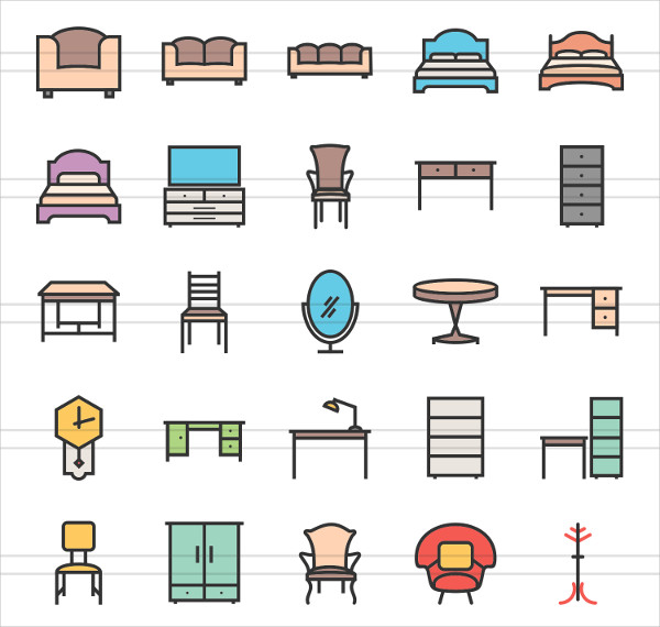 50 Furniture Linear Multicolor Icons