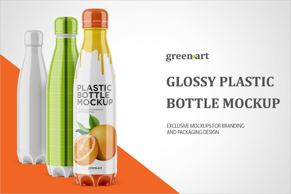 500ml Bottle with Glossy Label Mockup